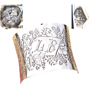 """Antique French .800 (nearly sterling) Silver Napkin Ring, Machined Band: Floral & Folate, """"LB"""" Monogram"""