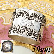 "Antique French Sterling Silver 2"" Napkin Ring, Elegant French Ribbon & Laurel Garland Pattern"