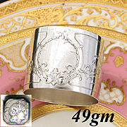 Gorgeous Antique French Sterling Silver Napkin Ring, Ornate Empire Style Decoration, Ribbons & Acanthus