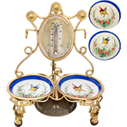 Unique Antique French Napoleon III Hotel Bell, Paris Porcelain Dishes & Thermometer Backing