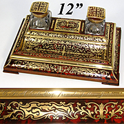 """RARE Antique French J.C. Vickery Marked Boulle 12"""" Inkstand or Double Inkwell, Stamp Box, Exceptional!"""