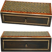 """Fine Antique French Napoleon III 10.5"""" Glove or Document Box, Casket, Ornate Brass & Pearl Inlay"""