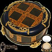 "Fabulous Antique French Napoleon III Era Marquetry & Gilt Bronze Ormolu 8"" Jewelry Casket, Unique Round Shape"