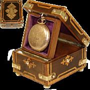 Antique French Napoleon III Era Pocket Watch Display Casket, Marquetry with Brass Corner Straps, Original & Opulent!