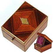 Antique French Napoleon III Pocket Watch Display Casket, a Lovely Kingwood Marquetry Box