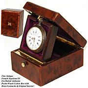 Antique French Napoleon III Pocket Watch Display Casket, a n Elegant Burled Amboyna Box