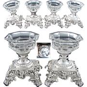 RARE Set of 4 Antique French Sterling Silver & Cut Glass or Crystal Open Salts, Highly Ornate