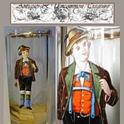 Fine Antique 1900s Moser Tumbler, Figural Enamel