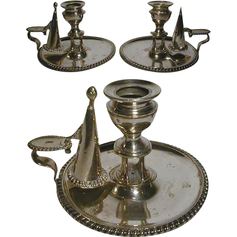 1800s Victorian SP Chamberstick PAIR w/ Snuffers