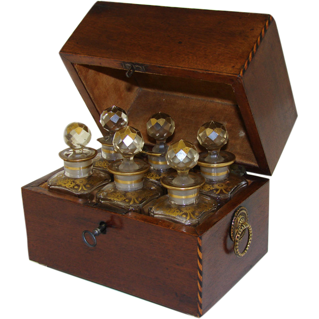 Antique Regency Perfume Casket, SIX Gilt Baccarat Bottles