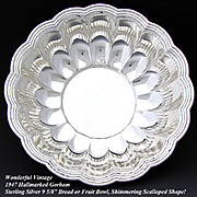 "Vintage Gorham Sterling Silver 9.5"" Serving Bowl, Scallop Shape"
