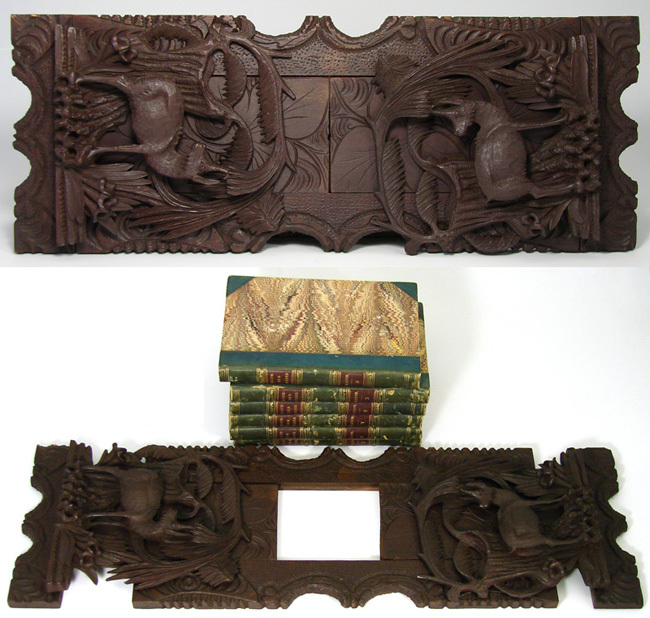 Antique Black Forest Telescoping Book Rack, Chamois Figures