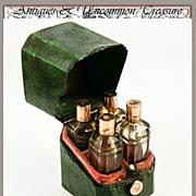 RARE! Georgian 1750s Antique French 18K Gold & Shagreen 4 Scent Flasks, Perfume Caddy,Etui
