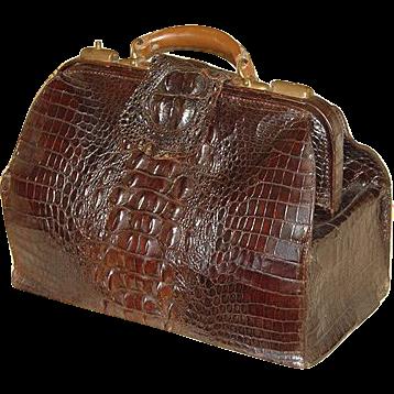 "Antique Victorian 16.5"" Alligator Satchel, LG Hornback Scales"