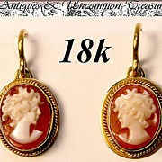 Fine Vintage 18K Gold & Shell Cameo Earrings Pair, Silhouette
