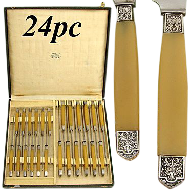 Vintage French 24pc Table Knife Set, Ornate Silver Tip Handles!