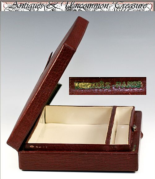 Vintage HERMES Vanity Case, Insert from Trousse de Voyage, Valise - Rouge leather, celluloid, c. 1930-40s