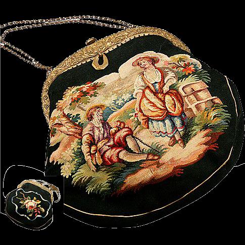 Antique French Aubusson Hand Bag, Purse, Romantic
