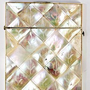Antique Victorian Card Case, Mother of Pearl Parquet