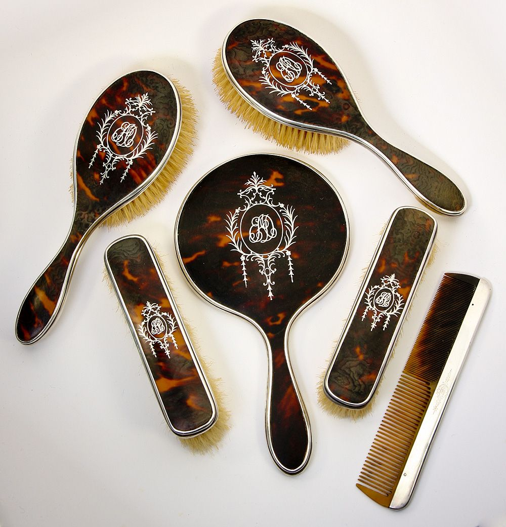 Antique Edwardian English Sterling Silver and Faux Tortoise Shell Dressing Table Set, Mirror, Brushes - 6 PC.