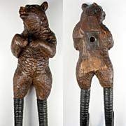 Antique Carved Wood Black Forest Bear with Goat Antler Legs, Hat or Coat Rack, Crop Hook