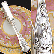 "Antique French Sterling Silver 10"" Asparagus or Pastry Tongs, Raised Monogram Medallions"