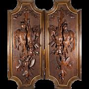 "Superb Pair Antique Black Forest Carved Game Bird Plaques, 29"" x 11.5"", Exellent, 6 birds, Acorn & Oak Leaf"
