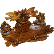 LG Antique Black Forest Carved Double Inkwell or Inkstand, Birds w/ Nest & Acorns & Oak Leaf Accents