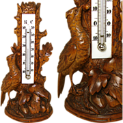 Antique Black Forest Carved Thermometer Stand, Detailed Bird & Foliage