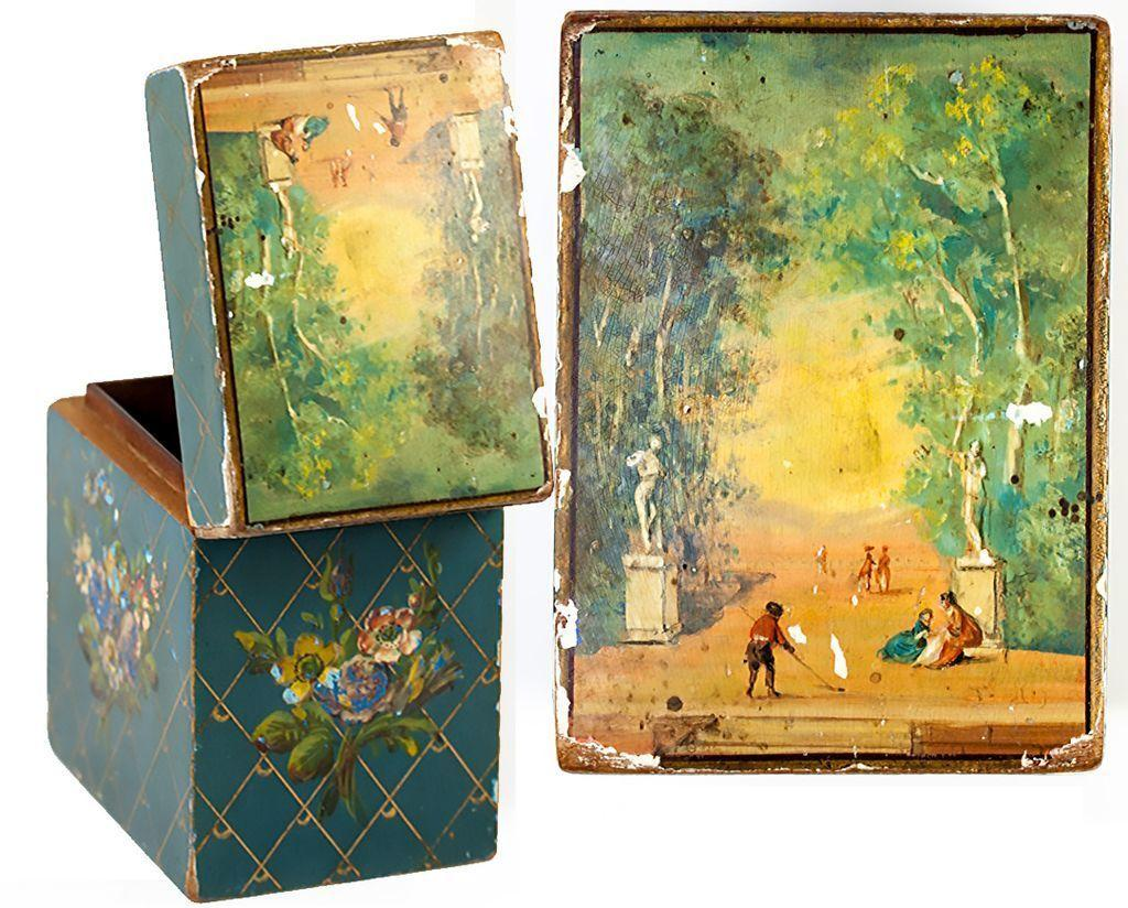 Antique French 2-Deck Playing Cards Box, Casket, Hand Painted Wood, Vernis Martin