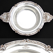"""Large Antique French Sterling Silver 14.5"""" 'Ecuelle', Handled Serving Dish or Legumier, Rococo"""