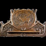 """Antique Carved Wood Pipe Rack or Spoon, Utensil Rack, Elk & Cabin, 15"""" Long"""