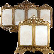 RARE Antique French Carte De Visite Photo Frame, Holds 6 Photos, Ornate Folding, Ormolu