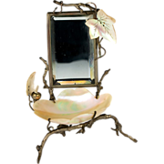 Antique French Vanity Stand, Mirror & Mother of Pearl Shell Trinket Stand