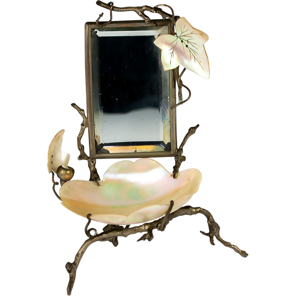 Antique french vanity stand mirror mother of pearl for Vanity stand