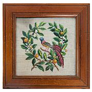 Antique Victorian Beadwork Needlepoint Panel in Frame, Bead Work, Glass