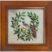 Antique Victorian Beadwork Needlepoint Panel in Frame, Bead Work, Glass