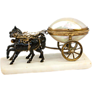 """SALE Antique French Palais Royal Horse-drawn Carriage, Mother of Pearl """"Egg"""" Cart, 2 Horses"""