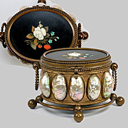 Antique French jewelry Casket, Mother of Pearl and Italian Pietra Dura Plaque, c. 1820-50