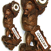 """Antique Black Forest 13"""" Wall Barometer, a Fabulous Large Carved Bear Figure"""