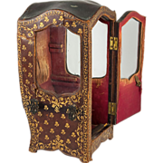 Antique French Gold-Embossed Leather Covered Miniature Sedan Chair, Vitrine