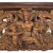 Antique Hand Carved 1700s Psyche & Cupid, Putti Bracket Shelf, Tuscan Sculpture