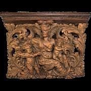 Antique Hand Carved 1700s Psyche & Cupid, Putti Bracket Shelf, Tuscan Sculpture