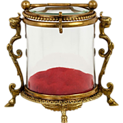 Antique French Vitrine Jewelry Display Box, Round Glass with Figural Caryatid Frame, Handle