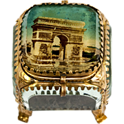 Antique French Eglomise Souvenir Box, Jewelry Casket, Arch de Triomphe, Paris