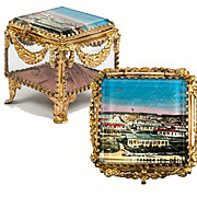 Antique French Souvenir Jewelry Box, Casket, Garland Swags & Camp d'Antibes