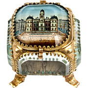 Antique French Souvenir Box, Eglomise Jewelry Casket, Hotel de Ville, LYON, France