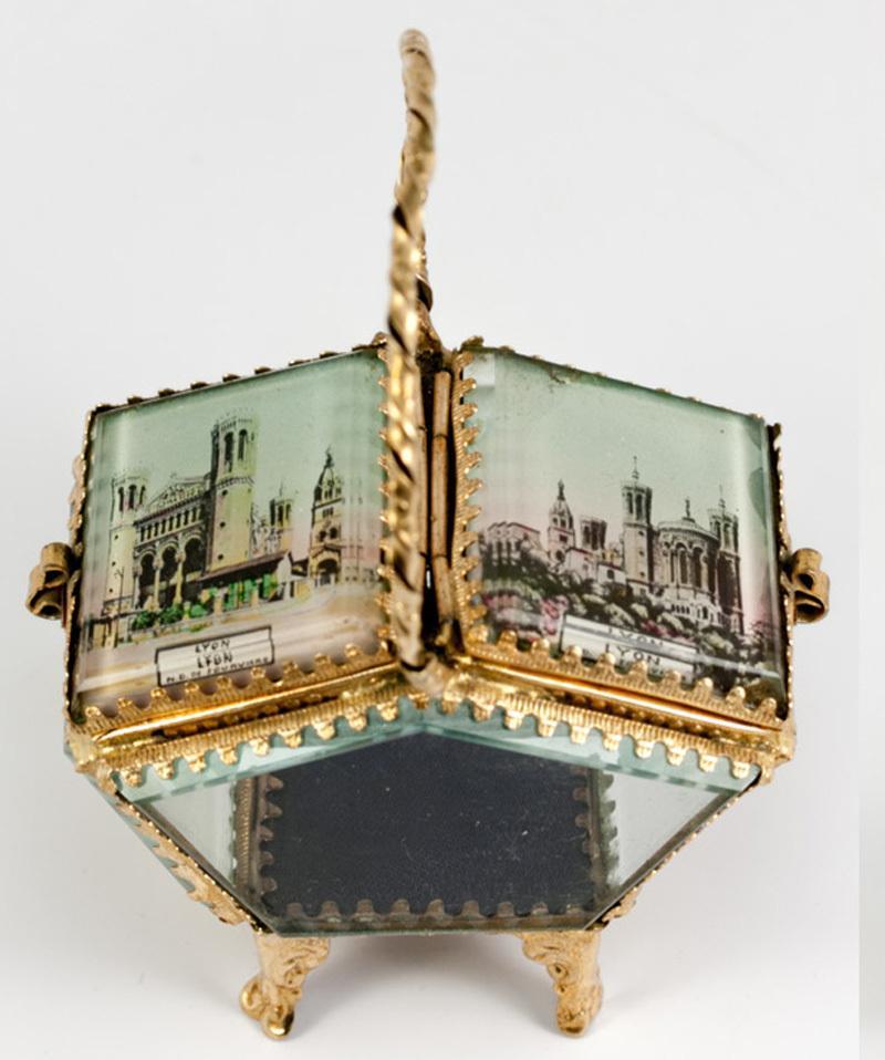 Antique French Basket-Style Eglomise Souvenir Jewelry Box, Casket, Lyon, France