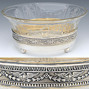 Antique French Sterling Silver & Intaglio Etched Glass Bonbon or Caviar Dish, Swans