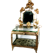 "Antique French Thick Glass Bride's Veil Box, A Vanity Vitrine with Mirror, Ormolu Flowers 15.5"" Tall"